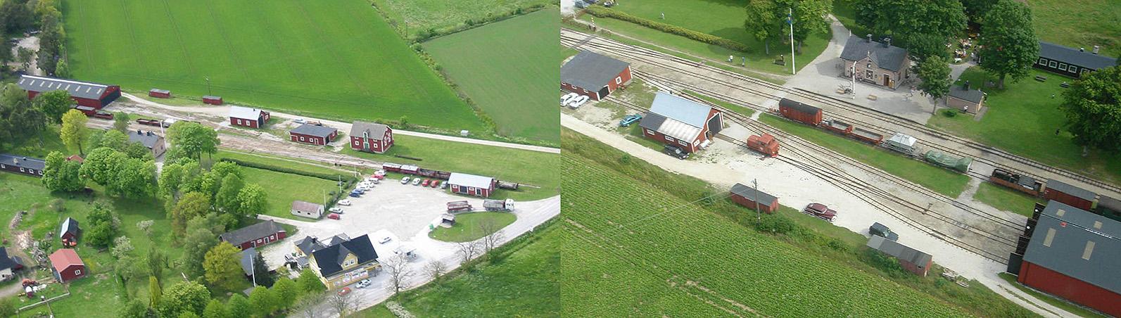 Till vänster: Flygfoto taget från helikopter av Daniel Åhlén den 27 maj 2004 - Till höger: Flygfoto taget med helikopter av Ingemar Ohlsson sommaren 2005
