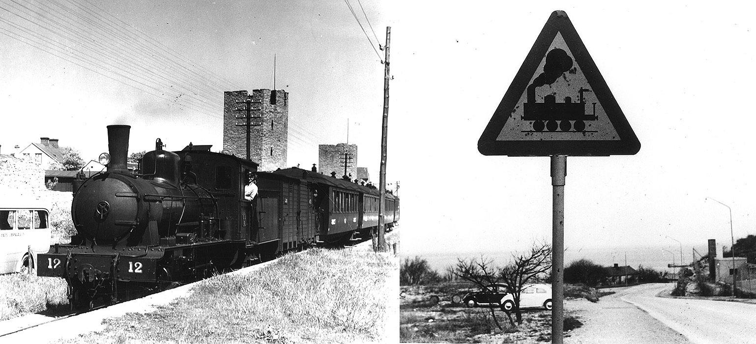 GJ lok 12 vid ringmuren. Foto från Föreningen Gotlandstågets arkiv. Till höger: Varning för tåg. Foto från Waldemar Falcks arkiv