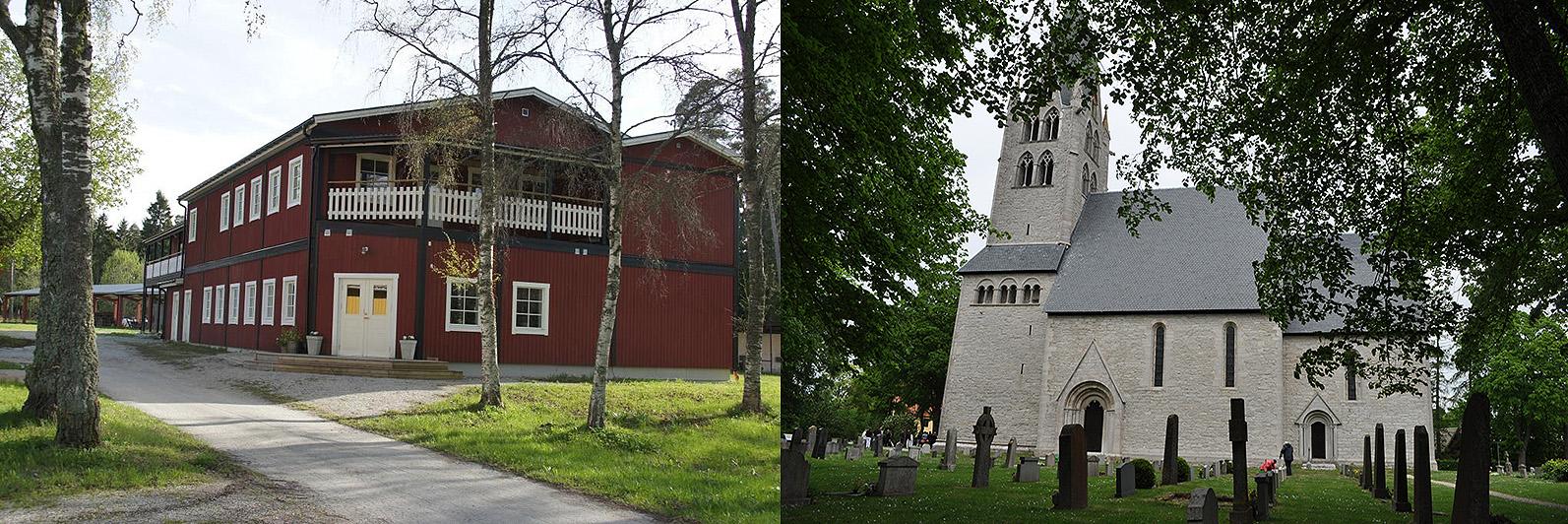 Till vänster: Hotell Dalhem. Till höger: Dalhems kyrka från söder