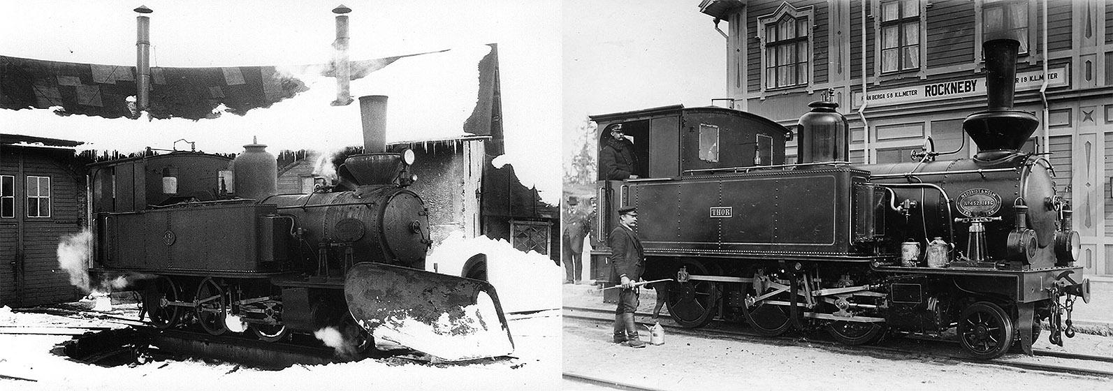 SGJ 1 till vänster foto 25 mars 1947 Martin Lindström. Till höger som KBJ 1 vid Rockneby station - Samlingsportalen