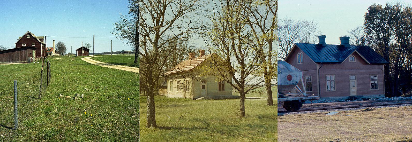 Till vänster och i mitten: Vy norrut samt mot Hesselby station 12 maj 1972. Foto: Gunnar T Ljungdahl. Till höger: Hesselby sto den 25 okt. 1972. Foto: Sven Karlsson