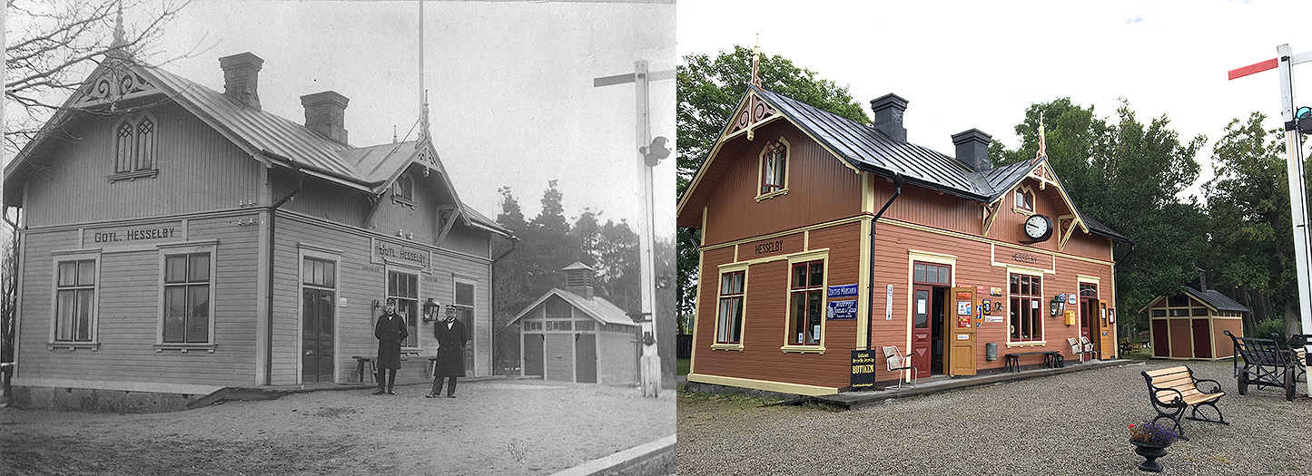 Till vänster: Gotland Hesselby station tidigt 30-tal. 1934 vet vi att en stålsemafor fanns på stationen.. Olof Hoffman står till höger. Till höger: Hesselby station den 28 juli 2016.