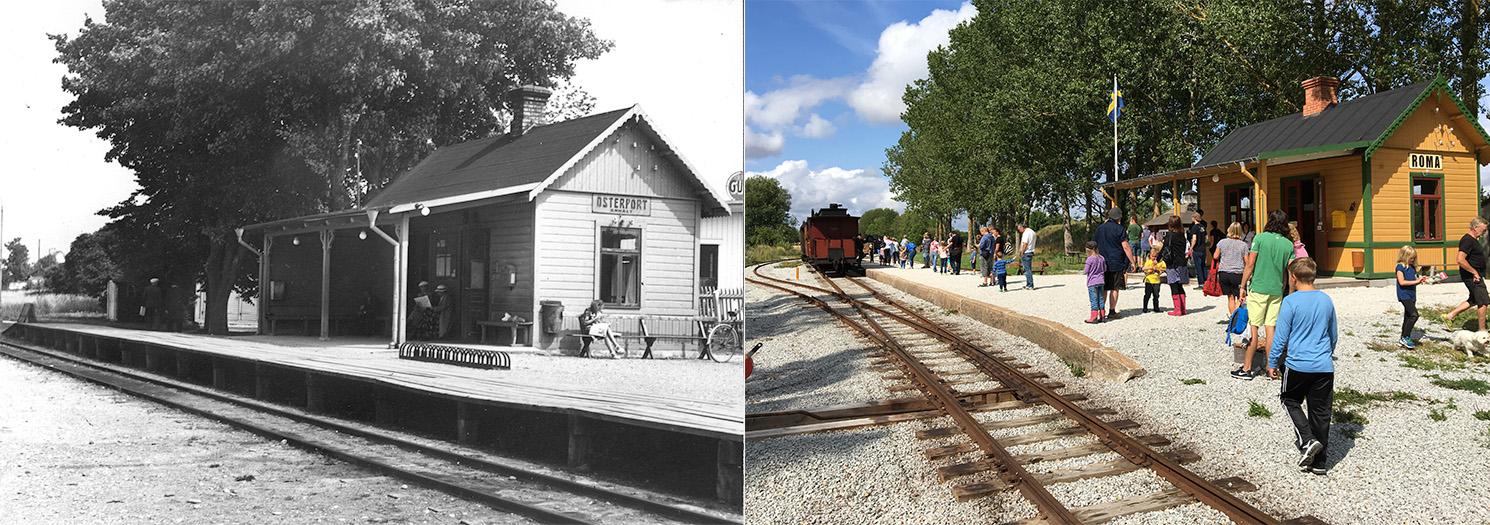 Till vänster: Stationshuset som Österports station i Visby. 1940-tal. Till höger: Roma station den 28 juli 2016.