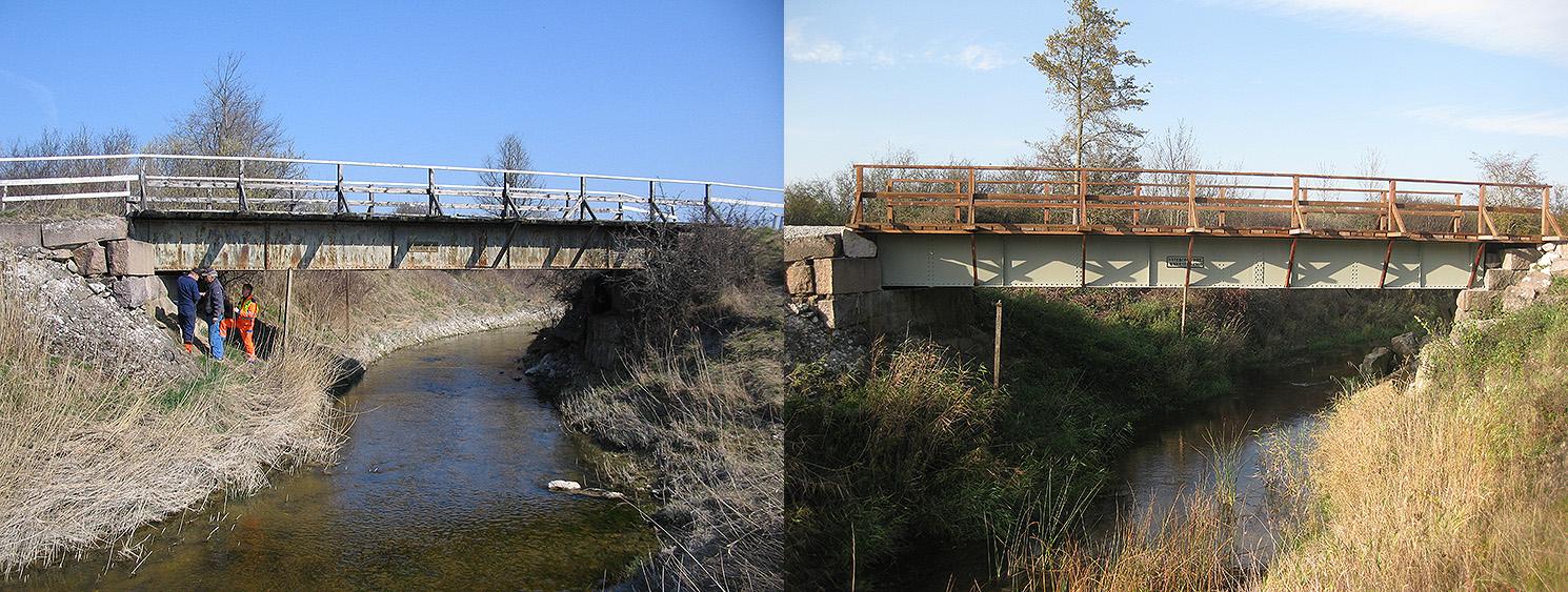 Till vänster: Vägverket produktion besiktigade Roma kanalbron den 28 april 2005. Till höger: Roma kanalbron efter renoveringen. Foto den 10 okt. 2014.