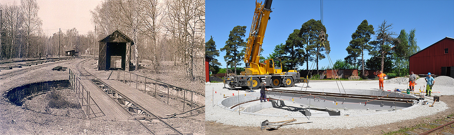 Till vänster: 1978. Vändskivan i Sandbäckshult. Smalspåret till vänster håller på att breddas till normalspår. Foto: Stefan Olsson Till höger: 16 juni 2010: Translast mobilkran lyfte vändskivan på plats.