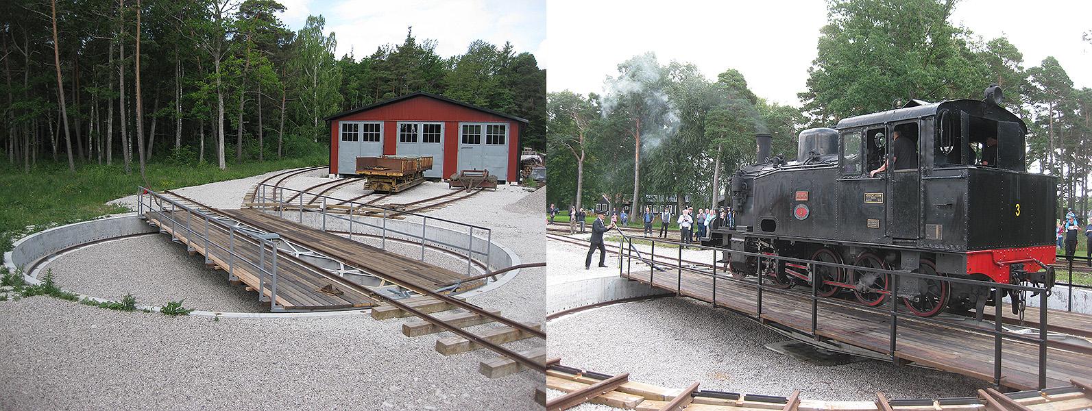 """Till vänster: 15 juni 2011. Vy från en av godsvagnarna mot vändskivan och Vagnhall 2. Yttersta plankraden samt notspåret återstod att montera. Till höger: 28 aug. 2011: Högtidlig invigning av vändskivan med ångloket """"Dalhem"""""""