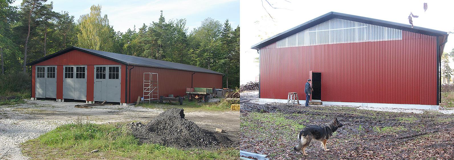 Till vänster: Vagnhall 2. Gaveln mot söder. 26 sept. 2008. Till höger: Vagnhall 2. Den norra gaveln den 14 dec. 2007