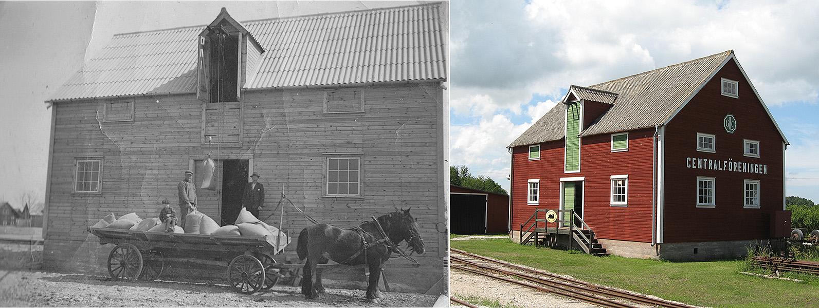 Till vänster: GLC-magasinet 1941. Foto från Folke Larsson, Dalhem. Till höger: Järnvägsmuseet den 1 juli 2007