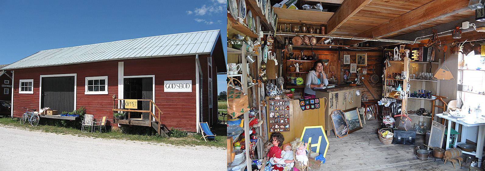 Vårt Godsmagasins östra del är sommartid uthyrd till Familjen Jannehag från Dalhem. Till vänster foto: 2 juli 2008. Till höger Där har de en prylbod som främst är öppen under trafikdagarna. Foto 26 aug. 2012