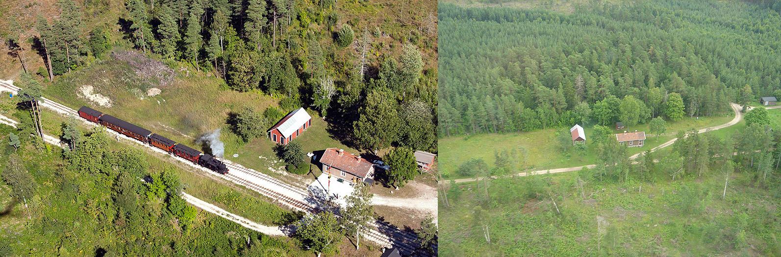 Till vänster: Flygfoto taget från flygplan av Gunnar Britse den 1 augusti 2013. Till höger: Flygfoto taget med helikopter av Ingemar Ohlsson sommaren 2006