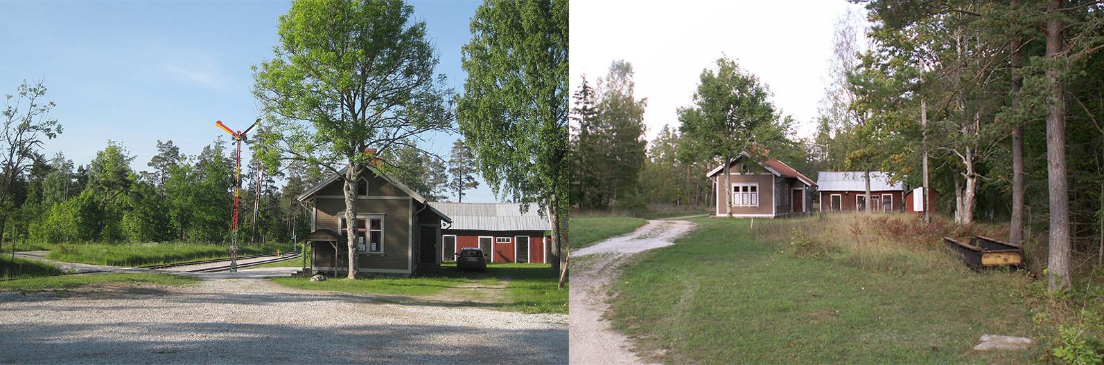Till vänster: Stationshuset med ladan den 5 juni 2013. Sommartrafiken har just inletts. Till höger: Stationshuset med lada den 1 okt. 2006. Vändskivan är tänkt att användas vid Roma stn.