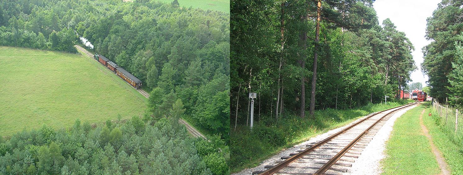 Till vänster: Flygfoton taget med helikopter av Ingemar Ohlsson sommaren 2006. Till höger: Foto 16 juli 2005