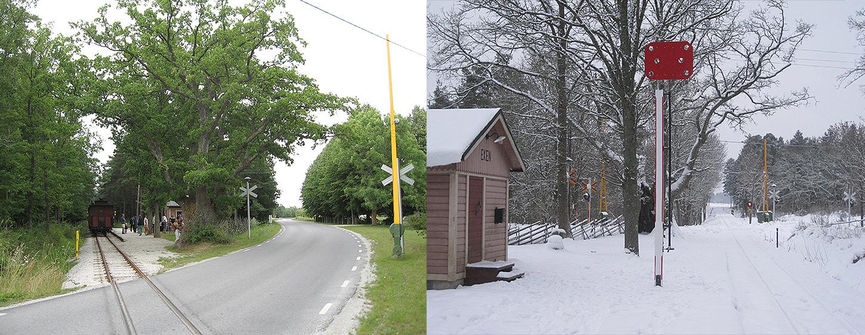 Till vänster: 12 juli 2008. Eken med järnvägsövergången och trafiktåget. Till höger: 19 dec. 2013. När tåg från Hesselby ska stanna vid Eken, ser det ut så här söderut.