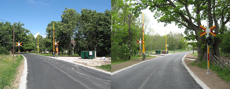 Till vänster: 29 juni 2007. Bommarna sedda från Romahållet. Till höger: 29 maj 2007: Bommarna sedda från Dalhemshållet. Räläkuren är den gröna mellan de vänstra bommarna