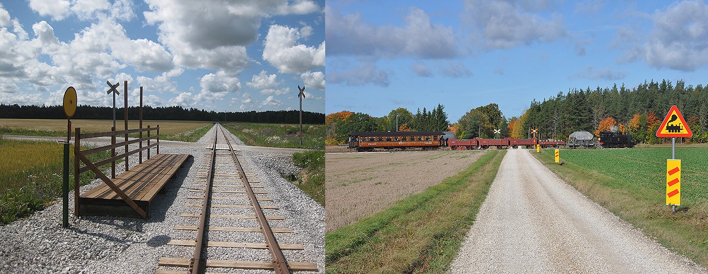 Till vänster: Munkebos nya hållplats 16 juli 2013. Till höger: Första ångloksskylten på GHJ. Foto: 1 okt. 2016