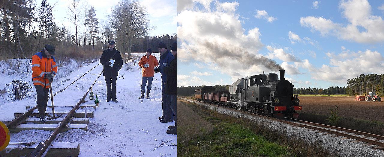 Till vänster: Sammanfogning av banorna över åkrarna den 19 jan. 2013- Till höger: Dalhem ångar över åkrarna den 1 okt. 2016 vid MRO-mötet