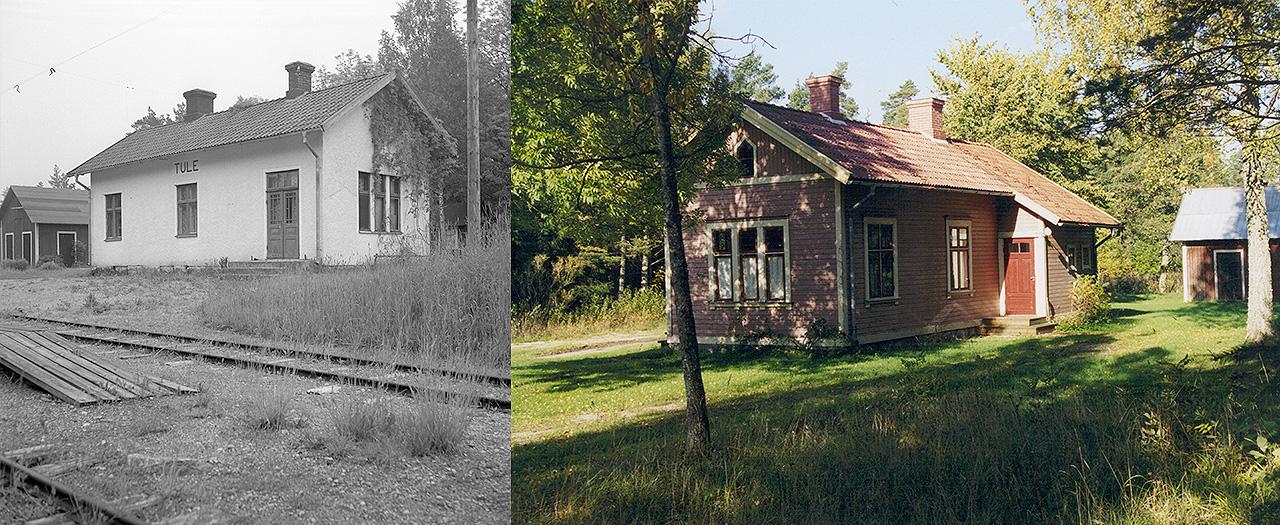 Till vänster: Tule station 1950 Föreningen Gotlandstågets arkiv. Till höger: Tule station den 5 oktober 2001
